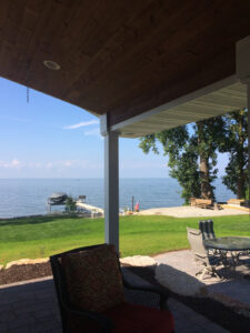 Water view from covered patio