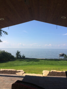 Water view from the covered patio